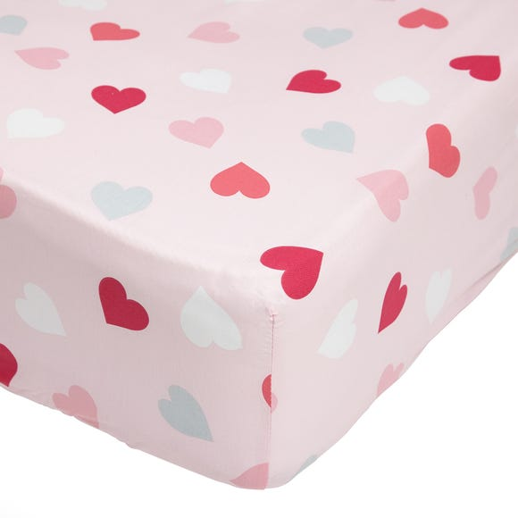 Loveable Hearts 25cm Fitted Sheet Pink undefined