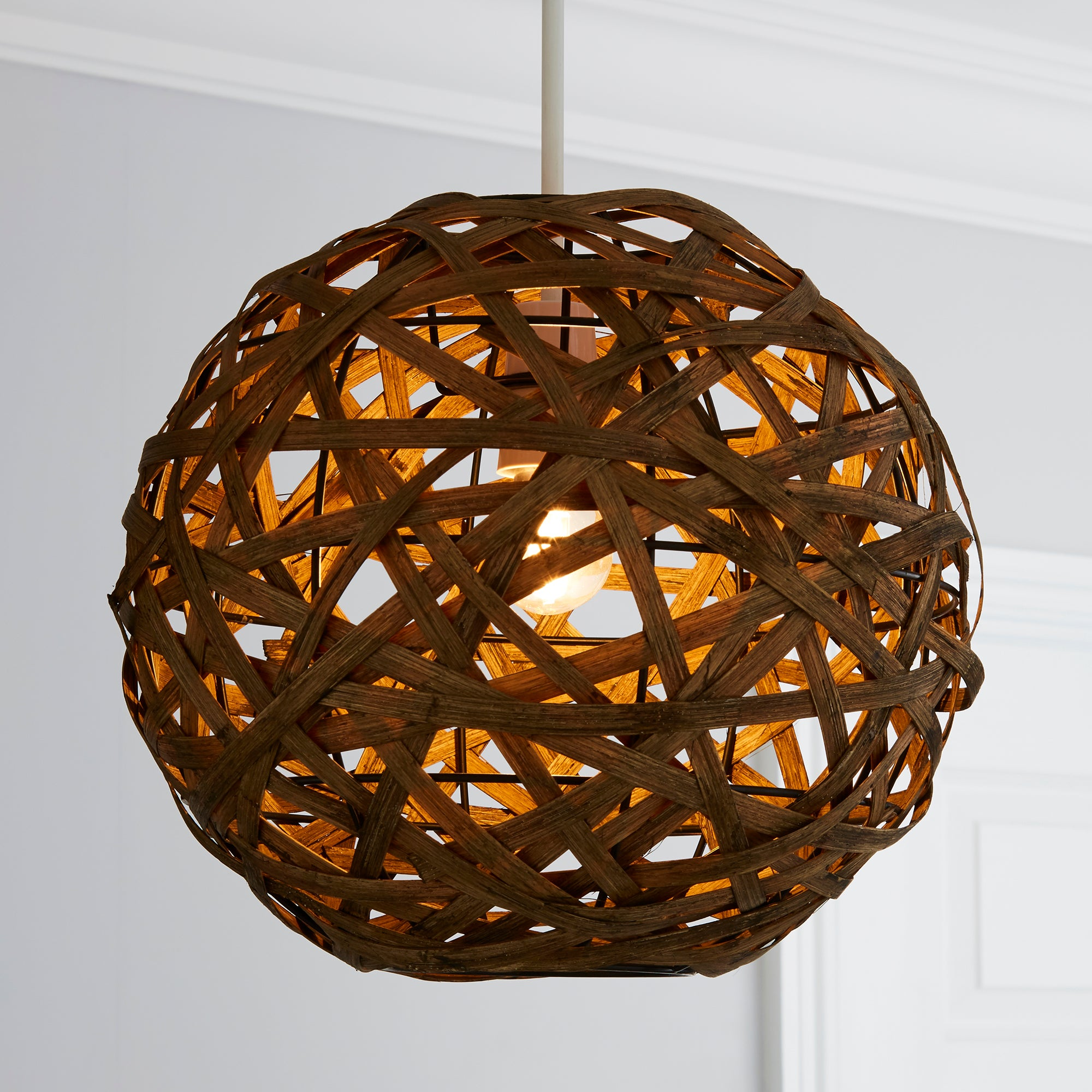 Click to view product details and reviews for Apollo Bamboo Ball Easy Fit Pendant Chocolate Brown.