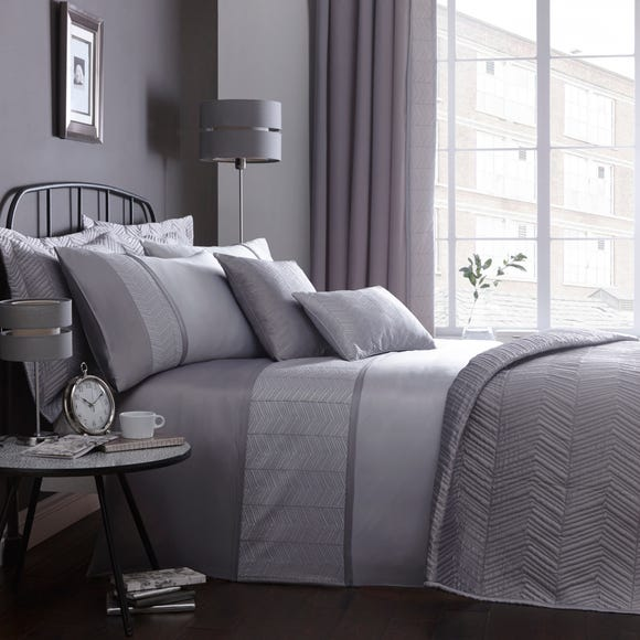 Owen Embroidered Grey Duvet Cover Grey undefined