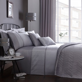 Owen Embroidered Grey Duvet Cover