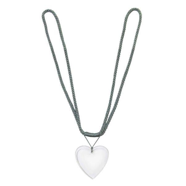 Acrylic Heart Tieback Grey