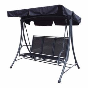 Sorrento 3 Seater Black Swing Seat