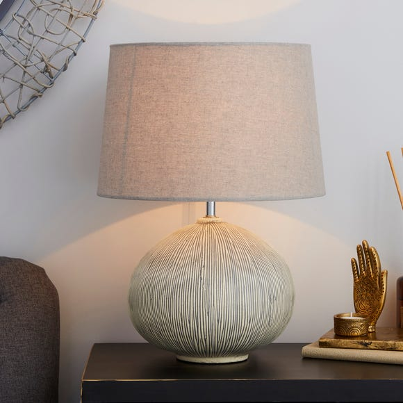 Dahlia Scratched Resin Grey Table Lamp Grey
