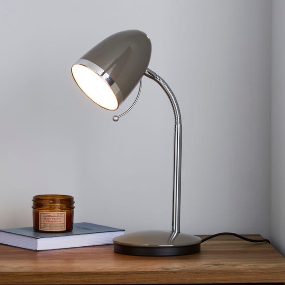 Tate Grey and Chrome Desk Lamp Grey