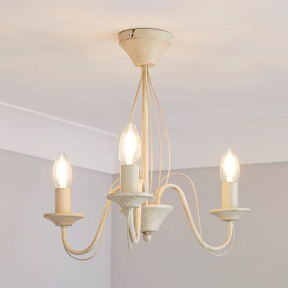 3 Light Candelabra Cream Ceiling Fitting Cream