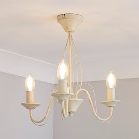 3 Light Candelabra Cream Ceiling Fitting