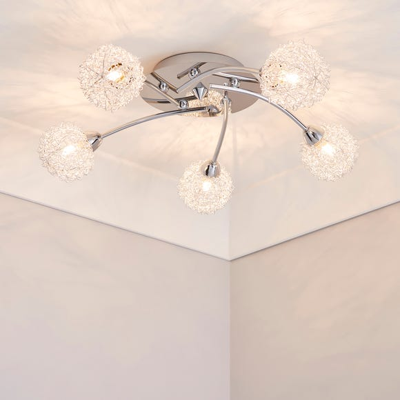 5 Light Wire Shade Chrome Ceiling Fitting Silver