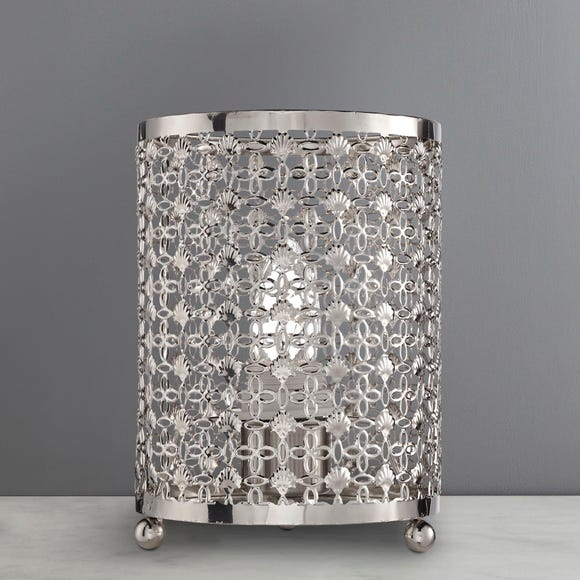 Moroccan Detail Chrome Table Lamp Silver