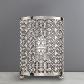 Moroccan Detail Chrome Table Lamp
