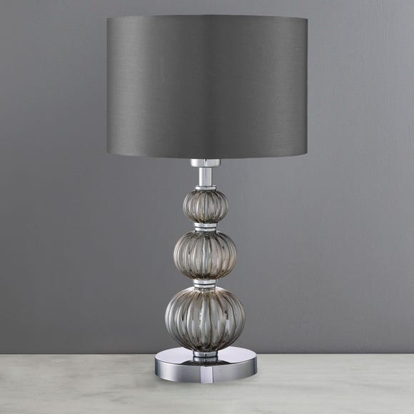 Stacked Smoked Glass Table Lamp Grey