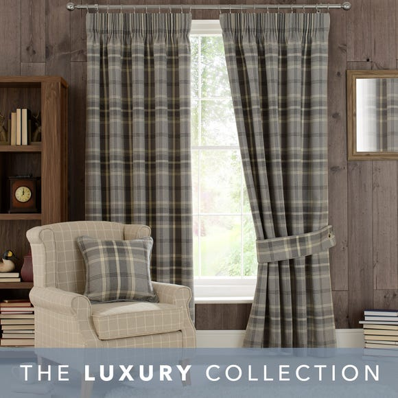 Highland Check Dove Grey Pencil Pleat Curtains Grey undefined