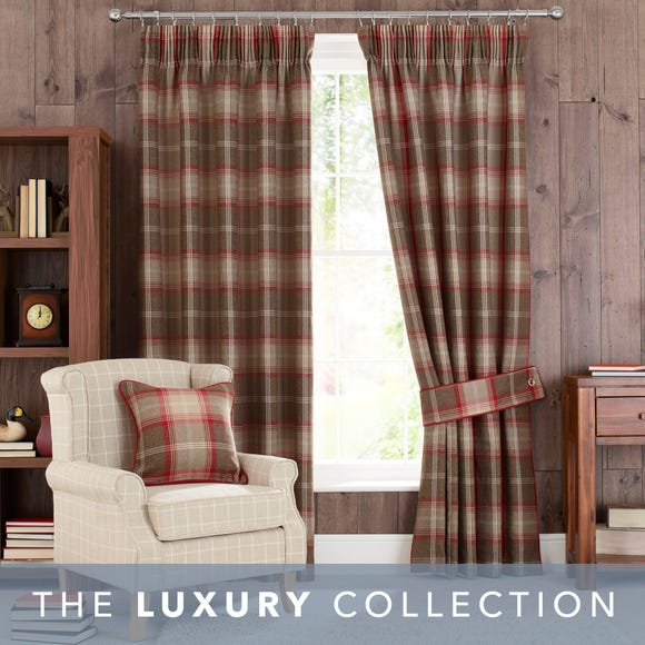 Highland Check Red Pencil Pleat Curtains Red undefined