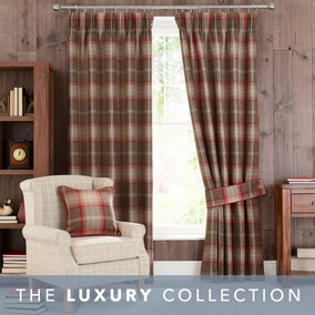 Highland Check Red Pencil Pleat Curtains
