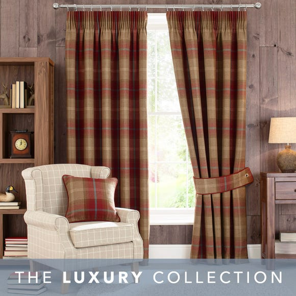 Highland Check Wine Pencil Pleat Curtains Wine (Red) undefined