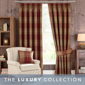Highland Check Wine Pencil Pleat Curtains