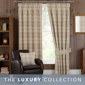 Highland Check Natural Pencil Pleat Curtains