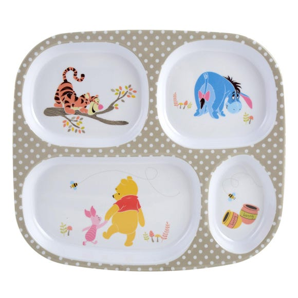 Disney Winnie The Pooh Melamine Lunch Tray MultiColoured