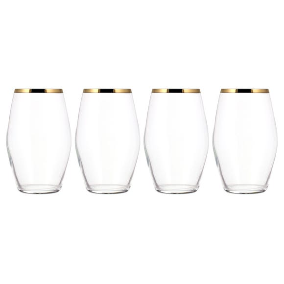 Gold Pack of 4 Highball Glasses Clear