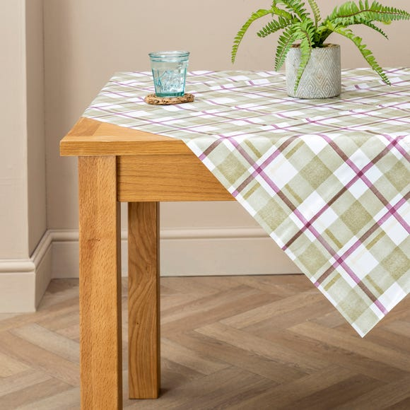 Green Check Misty Moors PVC Tablecloth MultiColoured undefined