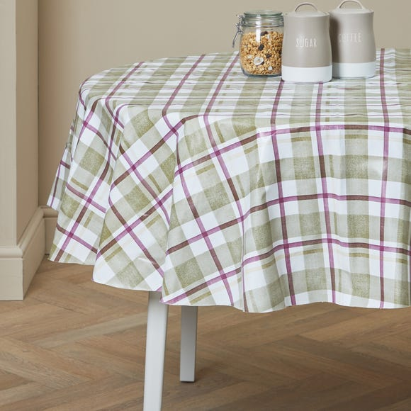 Green Check Misty Moors Round PVC Tablecloth Green
