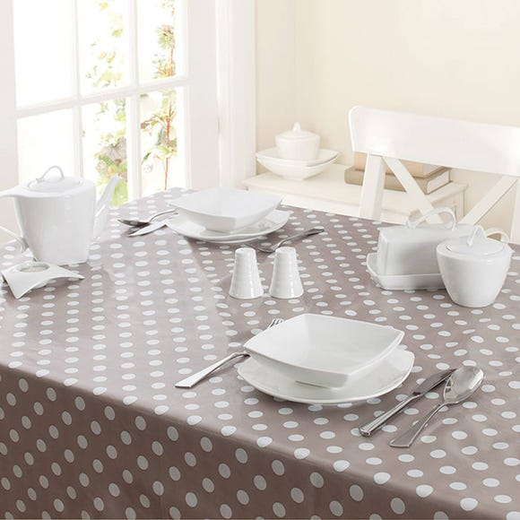 Dotty PVC Tablecloth Taupe (Cream)
