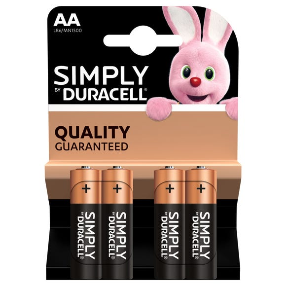 Duracell Pack Of 4 Simply AA Batteries Black