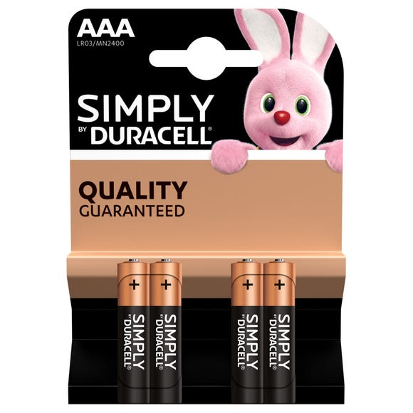 Pack Of 4 Duracell Simply AAA Batteries Black