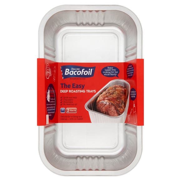 Bacofoil Set of 2 Easy Deep Roasting Trays Silver