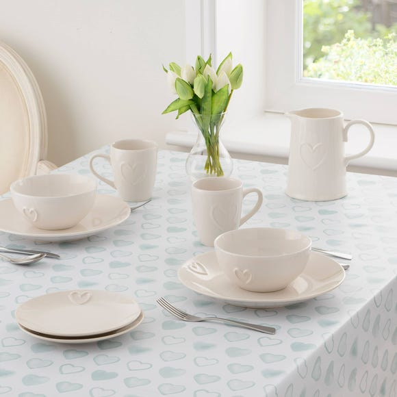 Country Duck-Egg Heart PVC Tablecloth Duck Egg (Blue) undefined