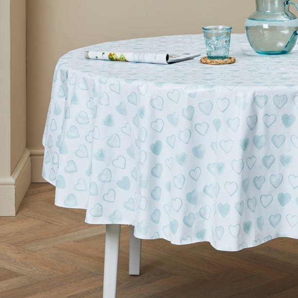 Country Heart Round PVC Duck Egg Tablecloth Duck Egg (Blue)
