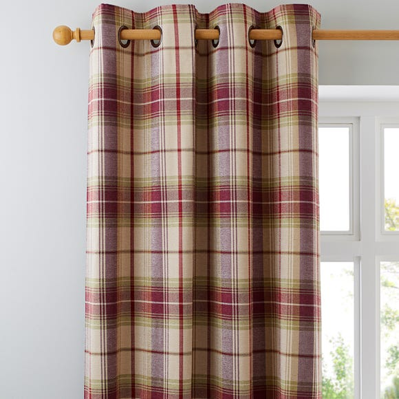 Dorma Bloomsbury Check Plum Eyelet Curtains Plum (Purple) undefined