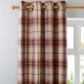 Dorma Bloomsbury Check Plum Eyelet Curtains