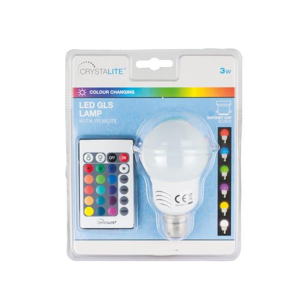 Status 3 Watt BC LED Colour Changing GLS Bulb White