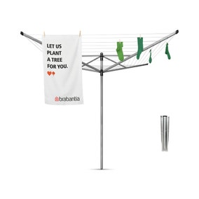 Brabantia 50 Metre 4 Arm Liftomatic Rotary Washing Line with Ground Spike