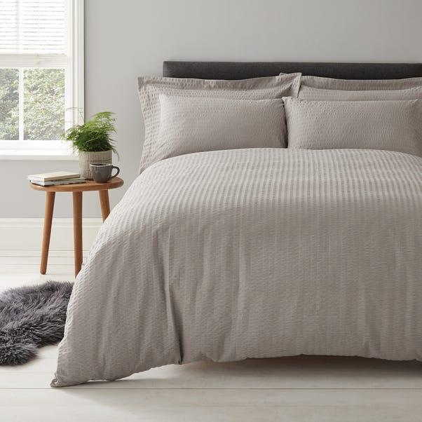 Logan Seersucker Grey Duvet Cover and Pillowcase Set  undefined