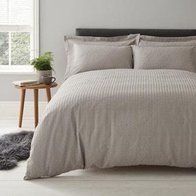 Logan Seersucker Grey Duvet Cover and Pillowcase Set