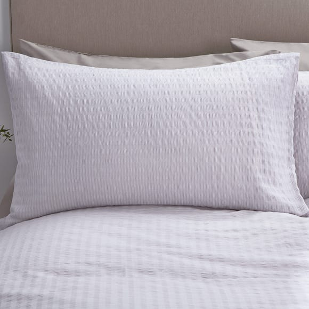 Logan Seersucker Grey Oxford Pillowcase Grey