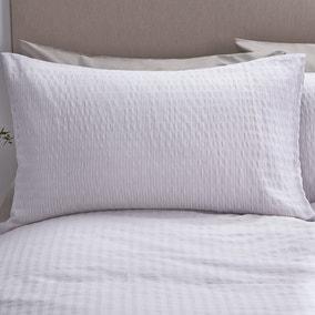 Logan Seersucker Grey Oxford Pillowcase