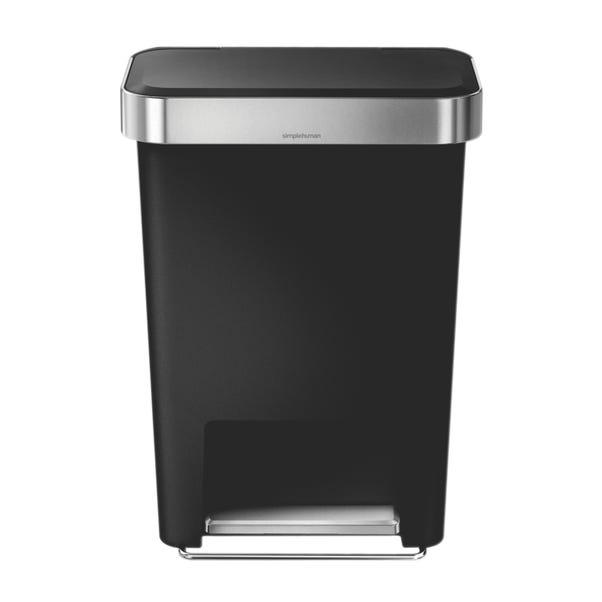 simplehuman 45 Litre Plastic Pedal Bin With Liner Pocket Black