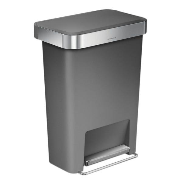 simplehuman 45 Litre Plastic Pedal Bin With Liner Pocket Grey