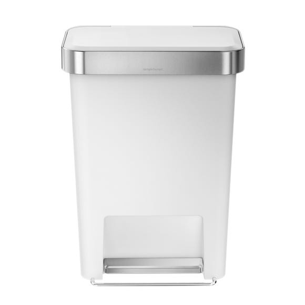 simplehuman 45 Litre Plastic Pedal Bin With Liner Pocket White