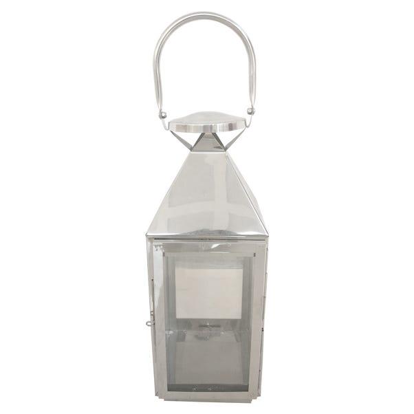Chrome Metal Lantern Silver