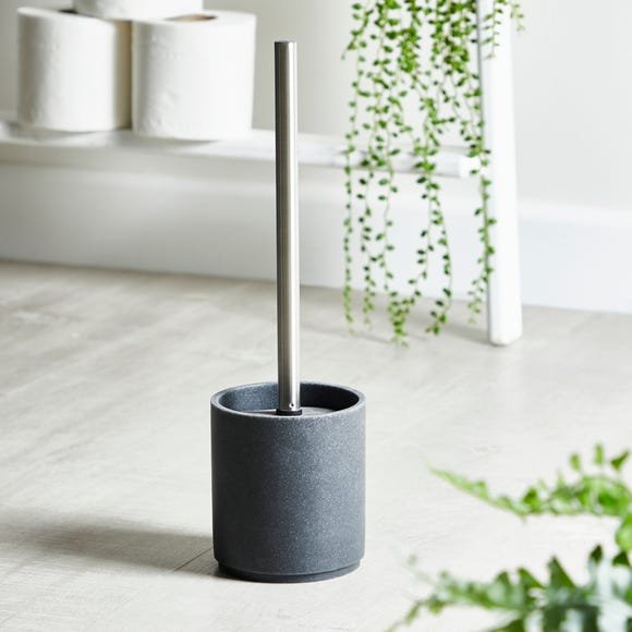Grey Resin Toilet Brush Holder Grey