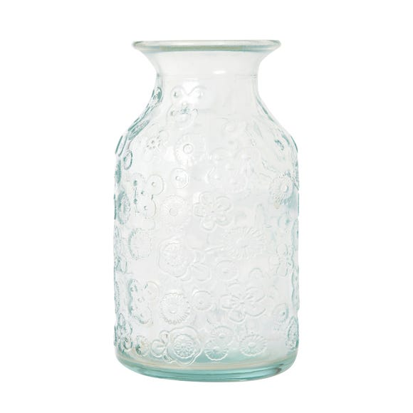 Glass Embossed Bud Vase Clear