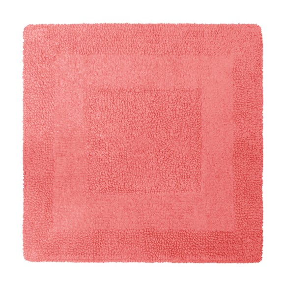 Super Soft Reversible Coral Square Bath Mat Coral (Red)