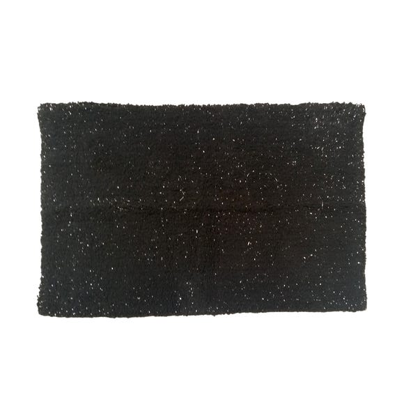 Black and Silver Bath Mat Black