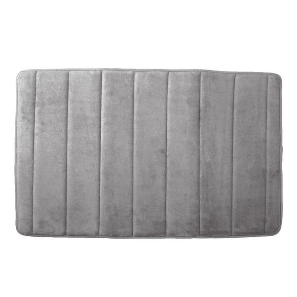 Memory Foam Silver Bath Mat Silver (Grey)