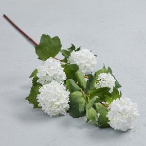 Artificial Snowball Flower Cream Single Spray 85cm
