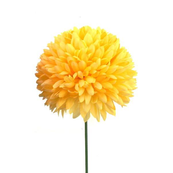 Artificial Pompom Flower Single Stem 72cm Yellow