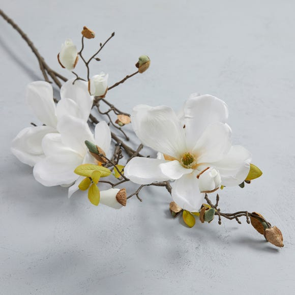 Artificial Magnolia White Single Spray 110cm Cream (Natural)
